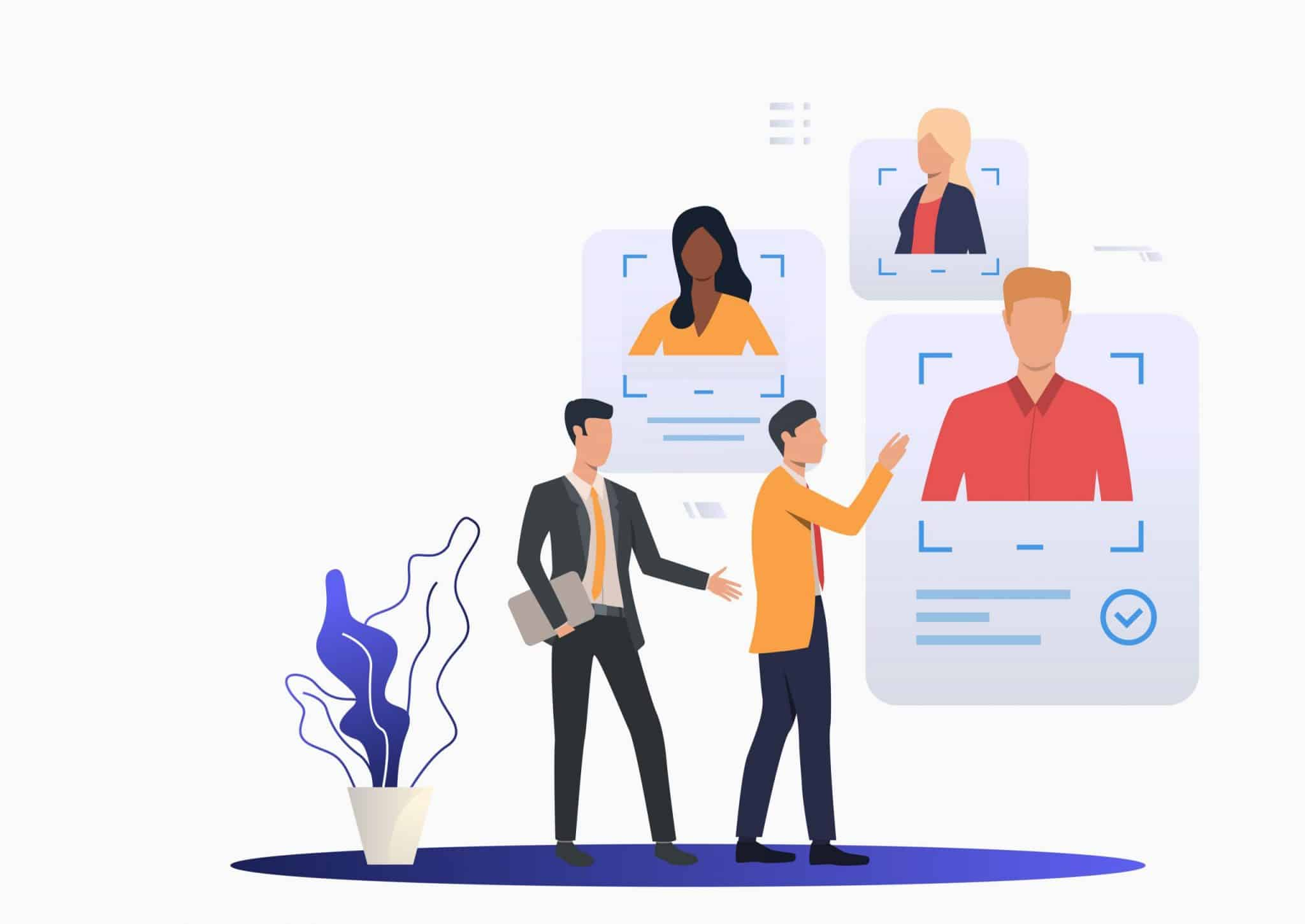 Business leader consulting HR expert. Two men studying candidates profiles. Human resource concept. Vector illustration can be used for topics like employment, personnel search, head hunting